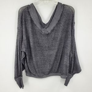 WE THE FREE gray waffle knit oversized top